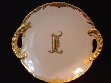 VINTAGE T & V DEPOSE LIMOGES IVORY PLATE WITH HANDLES HEAVILY TRIMMED IN GOLD