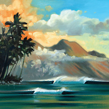Warm Morning Volcano Metal Sign, Tropical, Hawaii, Ocean, Surf