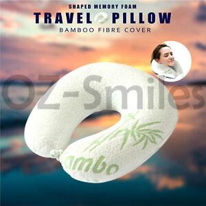 U Neck Pillow Flight Support Cushion Shaped BAMBOO MEMORY FOAM TRAVEL PILLOW