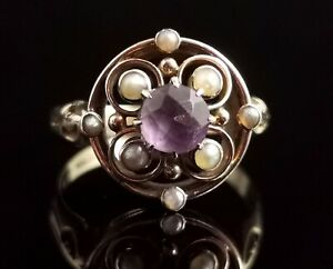 Antique Amethyst and seed pearl ring, 18ct yellow gold, Art Nouveau