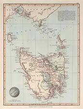 Van Diemens Land 1845 Vintage Map A2 High Quality Art Print