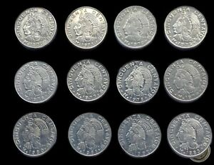 Full Collection of 50 Cents of Mexico Coins 1970-1983