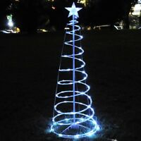 6' FT Christmas LED Spiral Tree Light Cool White Xmas Holiday New Year Battery