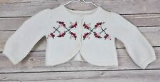 Janie & Jack Rose Embroidered Cropped Cardigan Lambswool Cashmere Blend Sweater