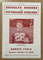VINTAGE 1940 NFL PITTSBURGH STEELERS @ BROOKLYN DODGERS FOOTBALL PROGRAM