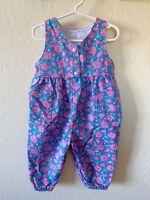 Vintage Healthtex Toddler Floral Bubble Romper Overalls 18m Blue Denim Pink Rose