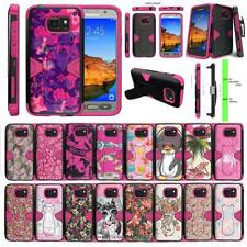 For Samsung Galaxy S7 Active Case Holster Belt Clip Kickstand Armor Pink Cover