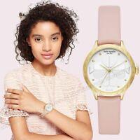 NWT 🌸 Kate Spade KSW1537 Rosebank Gold Tone Scallop Bezel Pink Leather Watch