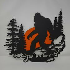 Bigfoot Plasma cut metal sign, gallery wall, art, home decor Black 16 x 18