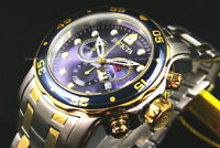 NEW Invicta Men'sPro Diver Scuba 48MM 2 Tone Blue Dial Chrono S.S Bracelet Watch