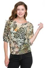 AMAZING LEOPARD SUBLIMATION PRINT 3/4 SLEEVE WITH BANDED BOTTOM TOP SIZE 3X