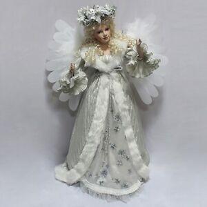 "Large 32"" Festive Freestanding Silver Moving Musical Angel  LED Wings Xmas 240V"