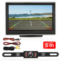 "8IR Wired Rear View Backup Camera Night Vision System+5.0"" Monitor For Car Truck"