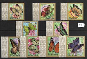 SMT, BURUNDI Butterflies set of nine airmail stamps, imperf, MNH