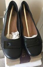 Clarks Blanche West Women Shoes Black Leather Comfort Flats Sz 5.5 M