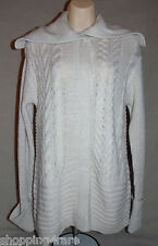 Simply Vera Wang Cream Tan Lurex Cable Knit Snap Front Cardigan Sweater Small