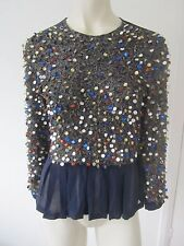 New Dries Van Noten Bead Embellished Peplum Top