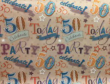 2 Sheets 50th Birthday Gift Wrap Wrapping Paper Age 50 Birthday Present Paper