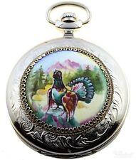 Molnija rusa reloj de bolsillo mecánicamente mano pintado 3603, motivo: auerhahn