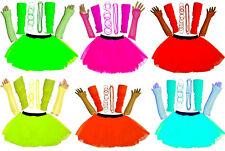 GIRLS NEW NEON UV TUTU GLOVES LEG WARMERS BEADS & BANGLES FANCY DRESS HEN PARTY