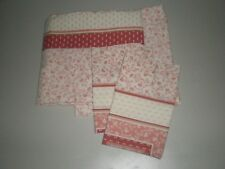 4 PC Vtg Sears Sheets Perma-Prest Percale Rosewood Red Blush Coral Tan Filigree