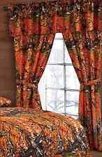 The Woods Orange Camo Camouflage Curtain ,Valance & Tieback Drape 5pc Set NEW