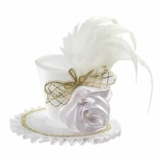 Mini White Victorian Fancy Top Hat w/ Rose Clip On Adult Womens Accessory NEW