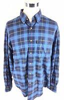 Guess Mens Vtg Button Down Shirt Sz XL Blue Plaid 90's Long Sleeve Tartan Euc
