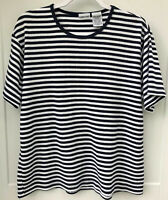 Cabin Creek Women's Large Navy Blue White Striped Short Sleeve Shirt Made in USA