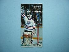 1988/89 MUTUAL LIFE OF CANADA NHL HOCKEY SCHEDULE GRANT FUHR