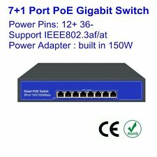 8 Port Gigabit PoE Switch Plus Switch 150W 53V 2.8A 802.3at/af 10/100/1000Mbps