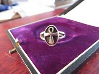 Schmaler 925 Silber Ring Unisex Orthodox Ankh Patina Klassiker Charakteristisch