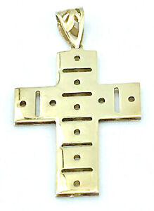 9k two tone CROSS Pendant_35mm x 20mm_375 yellow and white gold_double-sided