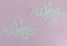 Quality Off White Bridal Embroidered Corded Lace Appliqués Trims Wedding DIY