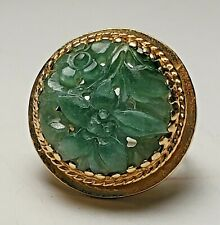 Jade Ring-Nwt-Size 3-585-Free Usa Ship 14K Yellow Gold Fancy Carved Green