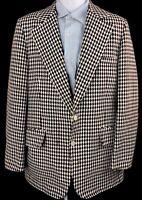 Vintage CESAR ROMERO Joker Men's Brown Harlequin Plaid Sport Coat Blazer 44
