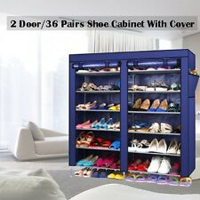 2 Doors W/ Cover Portable Storage Shoe Rack Cabinet Holder Wardrobe Organiser Na