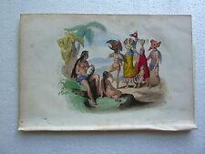 Gravure couleurs XIXe * Iles MARQUISES NUKU HIVA POLYNESIE  Antique Print 1845