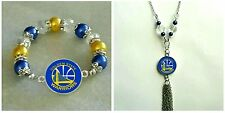 NBA Golden State Warriors Necklace and bracelet set (free button)
