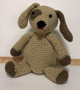 Crochet Dog Plush Stuffed Animal Toy Handmade Tan Brown Family Pet Cute Patch