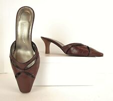 Cloudwalkers Diana Brown + Black Leather Mules Heels Pumps Shoes 10 Wide (S587)