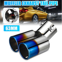 63MM Auto Car Dual Exhuast Pipe Tip Muffler Stainless Steel Tail Throat Durable