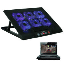 "12""-17"" Laptop USB LED Light 6 Fan Cooling Cooler Pad Adjustable Stand Black UK"