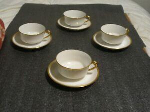 4 Vintage Haviland Limoges France Gold Rimmed Coffee Cups and Saucers