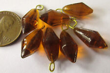 48 Vintage Lampwork Glass Amber Tan Drop Beads on Brass Loops 20mm x 9mm Avg