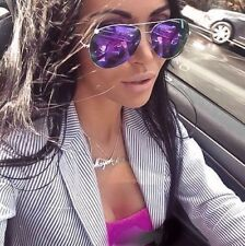 Large Big Purple Lavender Pink Mirror Gold Metal Aviator Fashion Sunglasses 3683