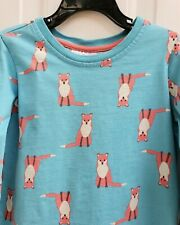 Hanna Anderson Girls Fox Blue Size 5/6 110 Long Sleeve Cotton Shirt Blouse Top
