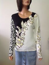 Q. T Unite Knit Top Beaded Floral  Leopard Print Designer Fashion Stylish Chic