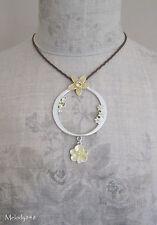 Vintage PILGRIM Necklace ENCHANTED FLOWER Yellow Enamel & Swarovski Silver BNWT