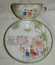 OLD GEISHA GIRL JAPANESE PORCELAIN CUP & SAUCER w MORIAGE, GREEN BAMBOO